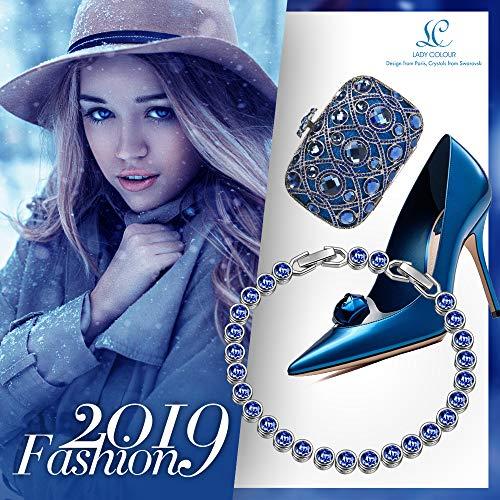 688f0c3f153d44 LADY COLOUR Bracelet for Women Wife Birthday Aquamarine Blue Tennis  Bracelet Swarovski Crystals Jewelry for Her