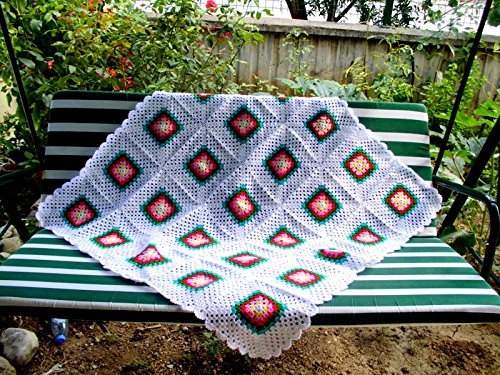 Amazon Hand Made Baby Blanket Granny Square Afghan Blanket