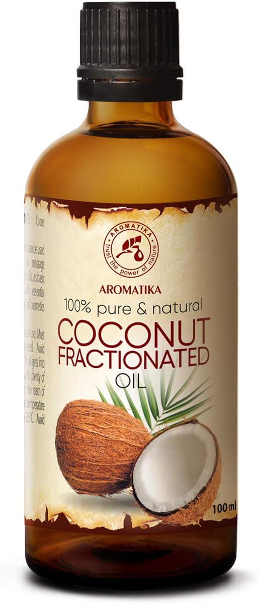 Aceite de Coco Fraccionado 100ml - Cocos Nucifera Oil - Germany - 100% Puro y Natural - Grandes Beneficios para la Piel - Cabello - Excelente con Aceite Esencial - Aromaterapia - SPA - Baño - Masaje