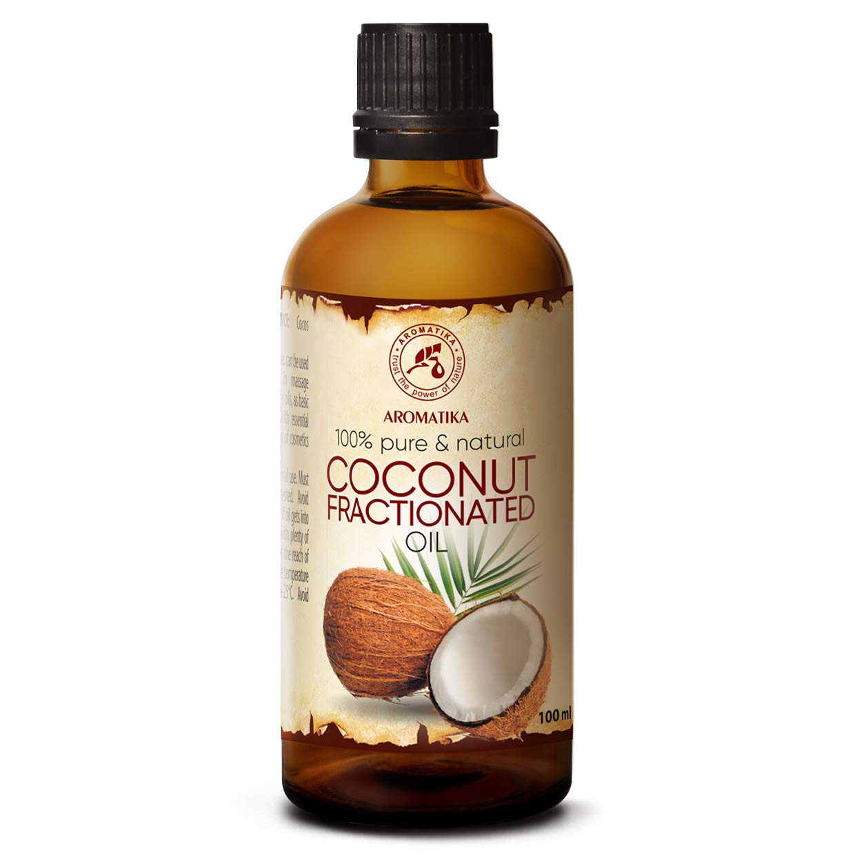 Fractionated Coconut Oil 3.4oz - MCT Oil - Cocos Nucifera Oil - 100% Pure & Natural - Base Oil - Odorless - Intensive Face Treatment - Body Care - Skin - Hair - for Beauty - Massage Oil - Wellness