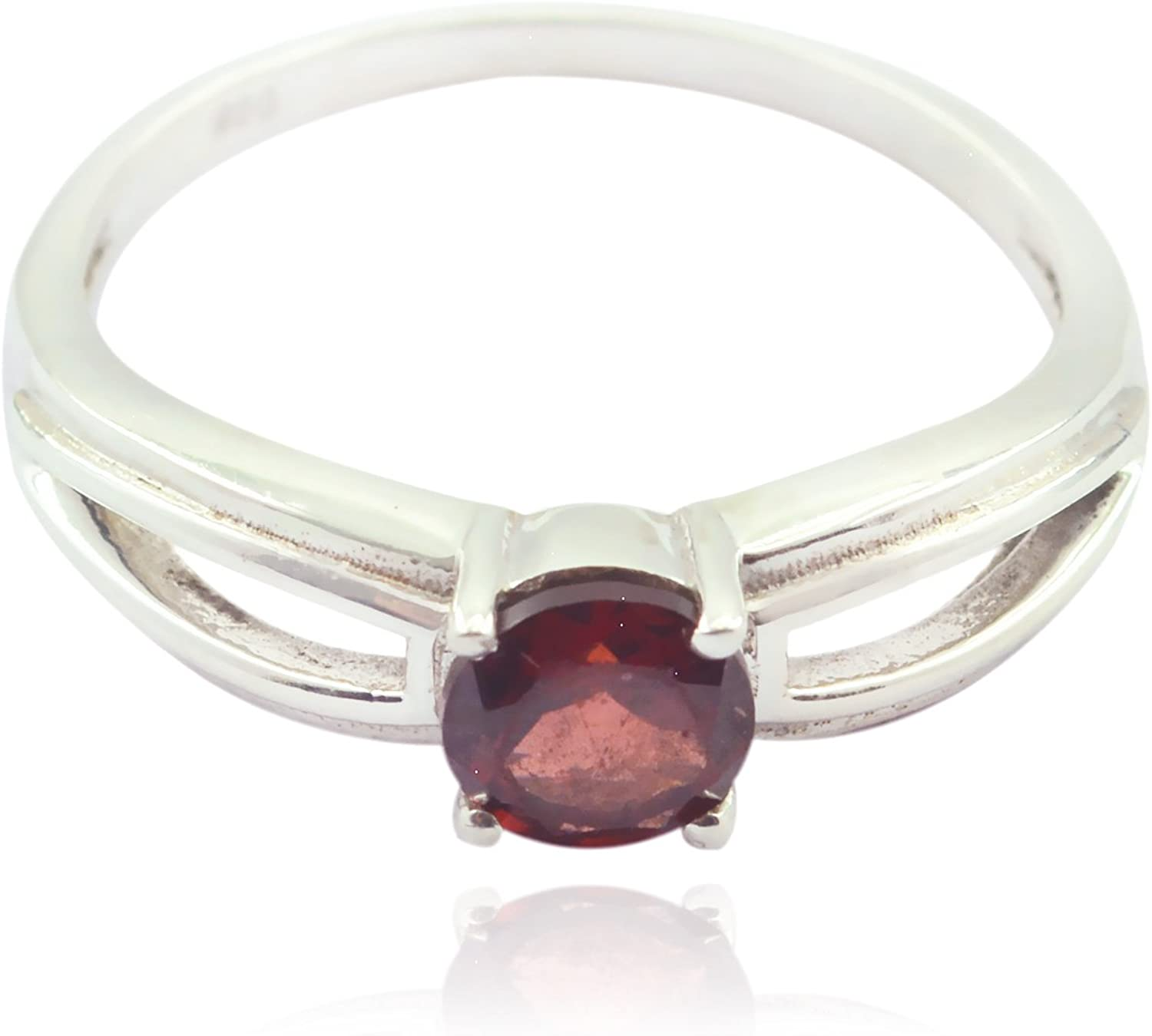 Jewellery Most Item Gift for Wife Real Gemstones Round Faceted Garnet Ring 925 Sterling Silver Red Garnet Real Gemstones Ring