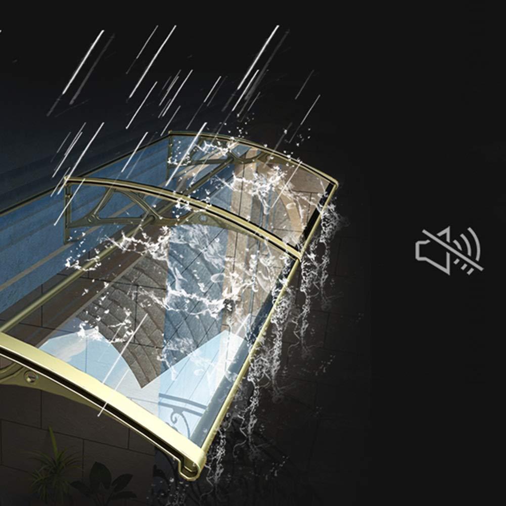 Size : 60cmx80cm Marquesina Puerta Exterior QIANDA Hojas De Policarbonato Soporte De Aluminio Durable Puerta Lluvia Abrigo A Prueba De Mal Tiempo Tablero Claro//Champaign Gold Apoyo
