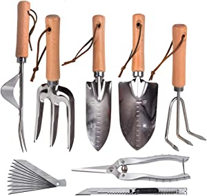 6 Pcs Large Garden Tool Set, Gardening Supplies,Stainless Garden Tool,Includes Hand Trowel, Transplant Trowel、 And Cultivator Hand Rake、 Weeder 、Fork 、pruning shears+Art Knife, Suitable for Plant Care