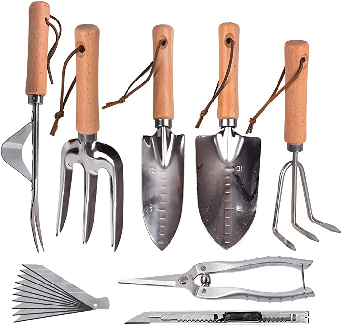 6 Pcs Large Garden Tool Set, Gardening Supplies,Stainless Garden Tool,Includes Hand Trowel, Transplant Trowel? And Cultivator Hand Rake? Weeder ?Fork ?pruning shears+Art Knife, Suitable for Plant Care