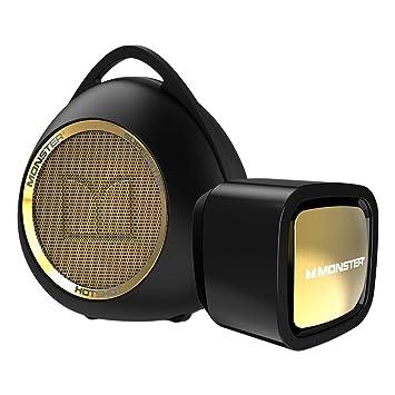 Monster Superstar Hotshot Bluetooth Speaker Black/Gold and USB Wall Charger Bundle