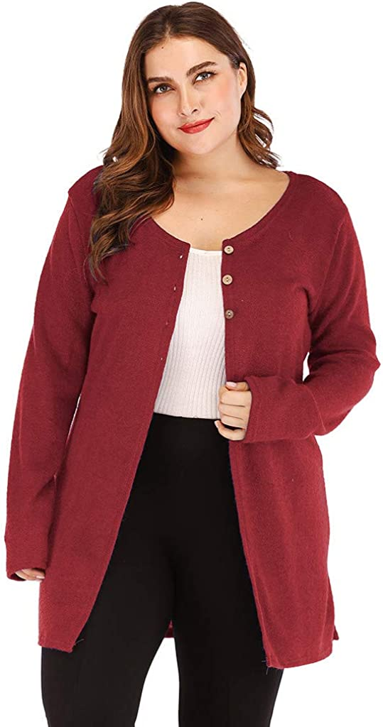 FORUU Plus Size Casual O-Neck Solid Long Sleeve Coat Cardigan with Buttons Blouses for Womens