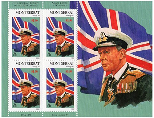 European Royalty of the 20th century featuring great Britain Windsor George VI (1936-1952) mint stamp sheet for collectors / Montserrat / Scott No. 953/1998 / 4 stamps