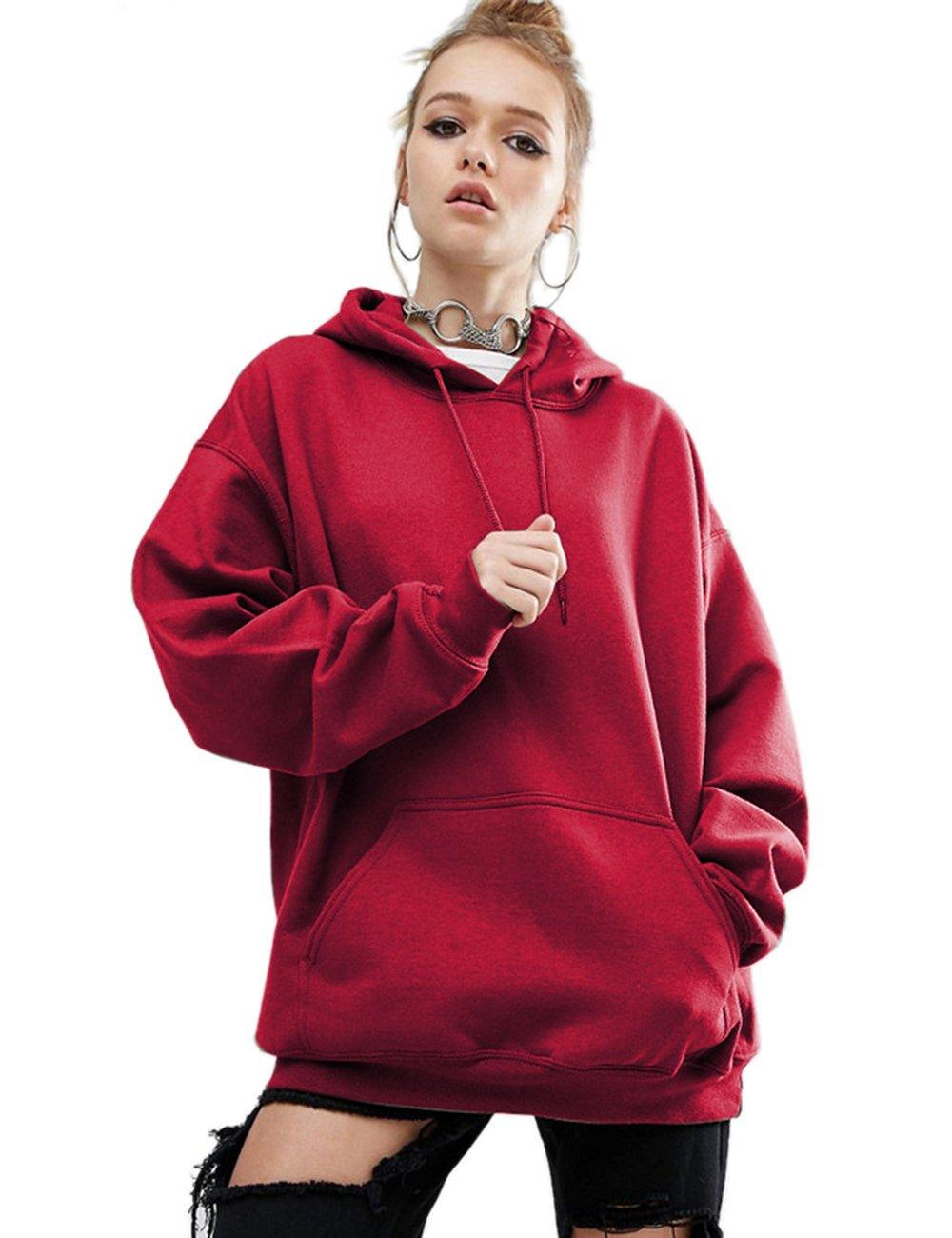Aibrou Women Hoodie, Long Sleeve Jumpers Sweatshirt Pouch Crop Top Pullover for Ladies Girls