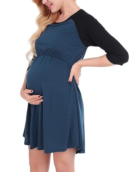 Dromild Maternidad de Las Mujeres Enfermería Lactancia camisón Ropa de Dormir Azul Pequeño