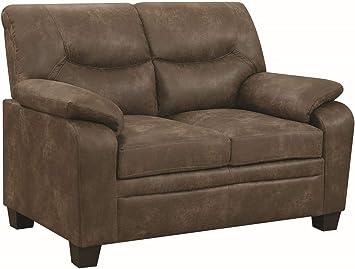 Amazon.com: Coaster 506562-CO Fabric Sofa, Brown Finish ...