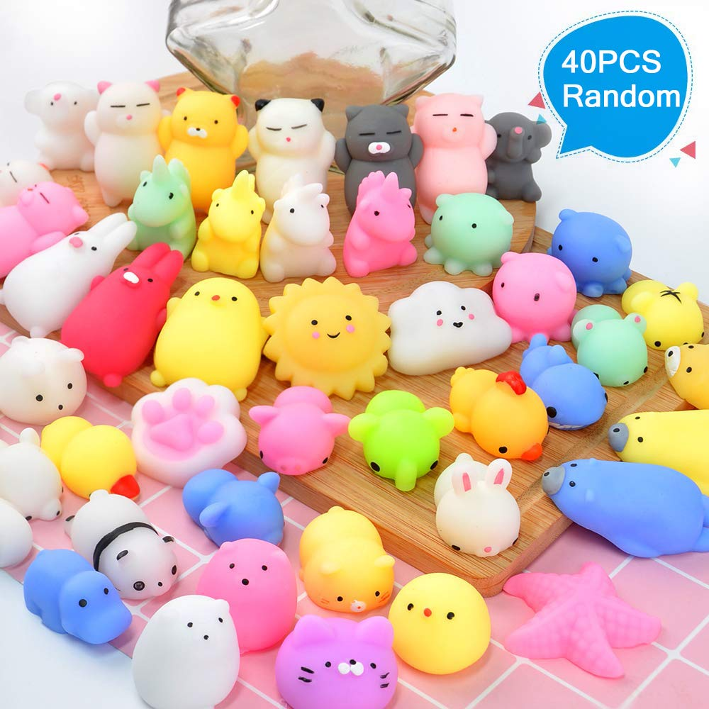 Squishy Toys 40 PCS Random Mini Squishy Party Favors for Kids Squishies Cat Animal Squishies Squishy Squeeze Toys Stress Relief Toys Easter Egg Fillers for Kids & Adults