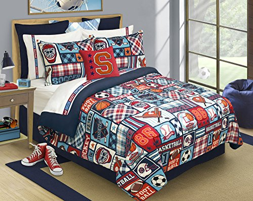 (Safdie & Co. Comforter 3PC Set Microfiber DQ Sports Center, Full, Queen, Multi)