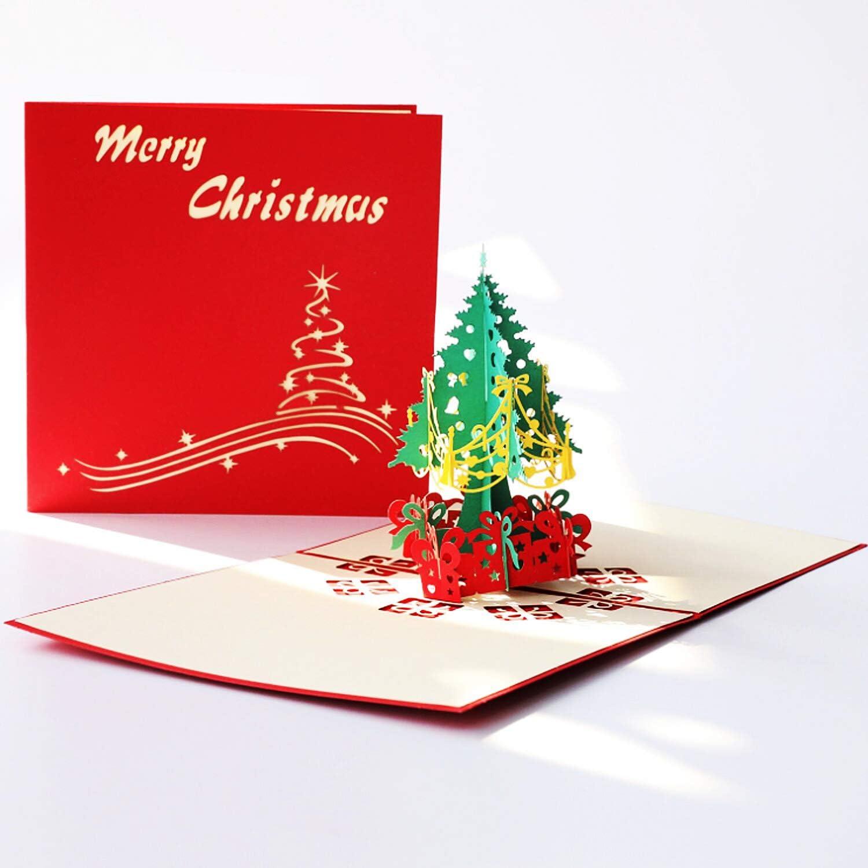 ANEWISH 3D Albero di Natale Biglietto Natalizio di Auguri Tridimensionale Cartolina di Natale con Buste