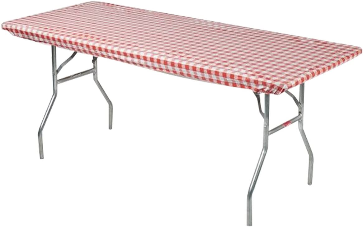 Kwik-Covers 30 x 96 Red White Gingham Fitted Table Cover – Single