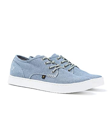 Farah Vintage Blue Chambray Canvas Trainers-UK 7 OSItQKP