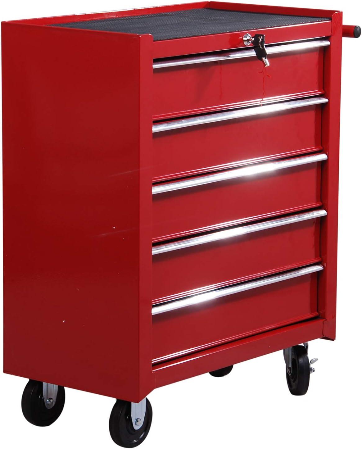 HOMCOM Carrito de Taller para Herramientas, con Ruedas, Caja de Herramientas con 5 cajones, 1 Unidad, Color Rojo
