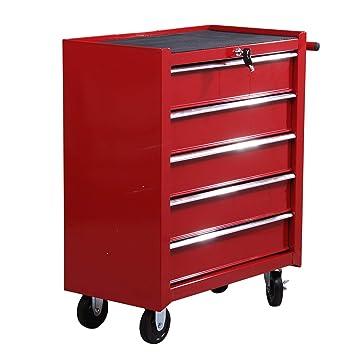 Homcom E2-0004 - Carrito de taller para herramientas, con ruedas, caja de herramientas con 5 cajones, 1 unidad, color rojo
