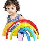 Rainbow Stacker, Elet-mall Colour Sort Rainbow Blocks Kids Wooden Toys Circle Set Creative Educational Toy