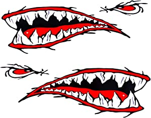 MOOCY 2Pcs Flying Tiger Fighter Teeth Tiger Teeth Shark Teeth New Motorcycle Sport Bike Kayak Canoe Fishing Boat Truck Jet Ski Hobie Dagger Ocean BoatDecal Sticker
