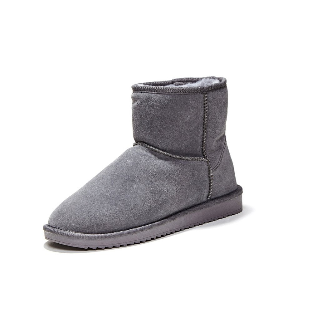 Winter new round snow boots, casual cattle suede, short cylinder thickening, warm flat cotton boots,43 grey