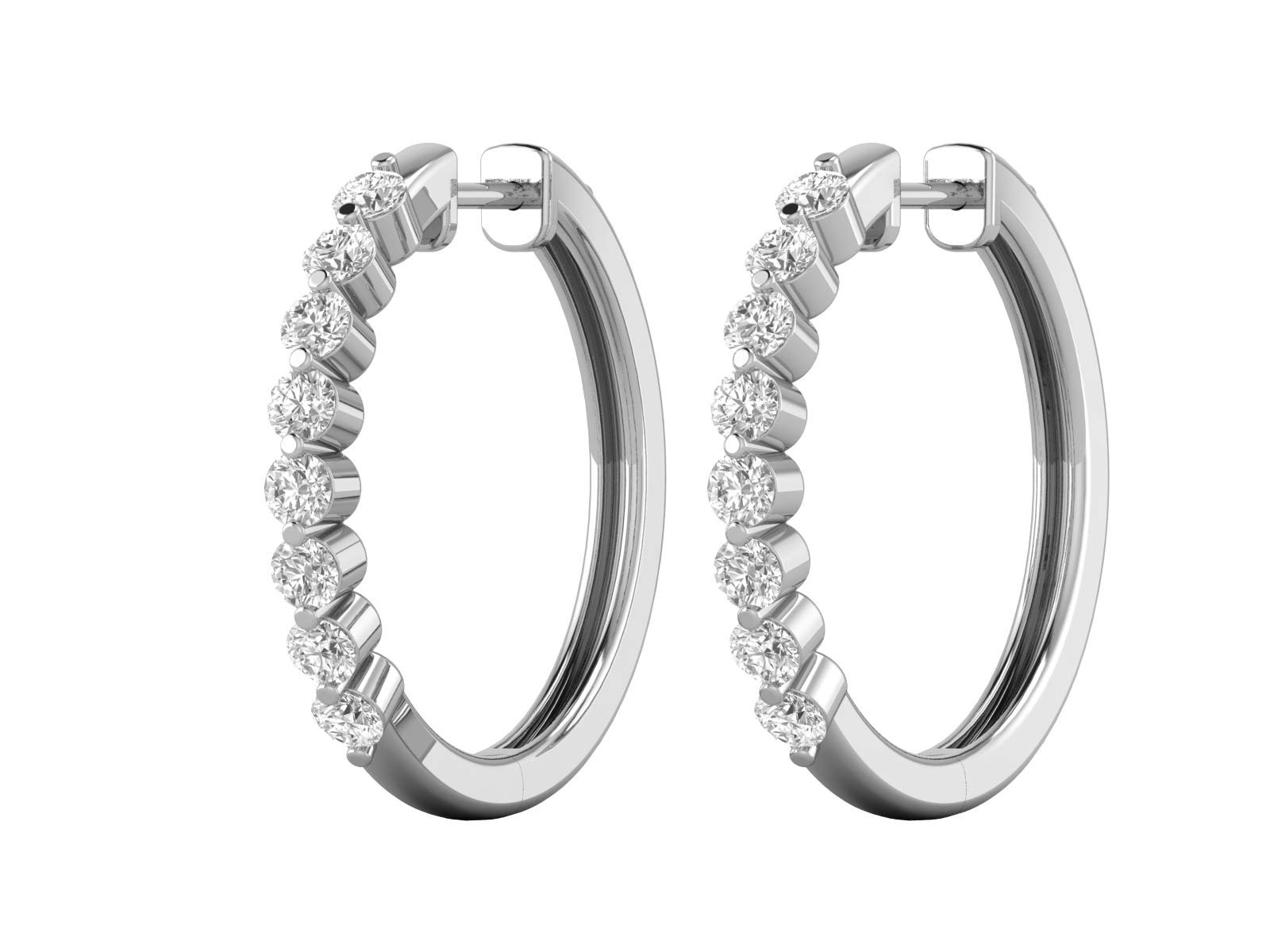 14K White Gold 1/2 Carat (H-I Color, SI2-I1 Clarity) Natural Diamond Essential Hoop Earrings for Women