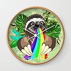Society6 Sloth Spitting Rainbow Colors Wall Clock Natural Frame, White Hands
