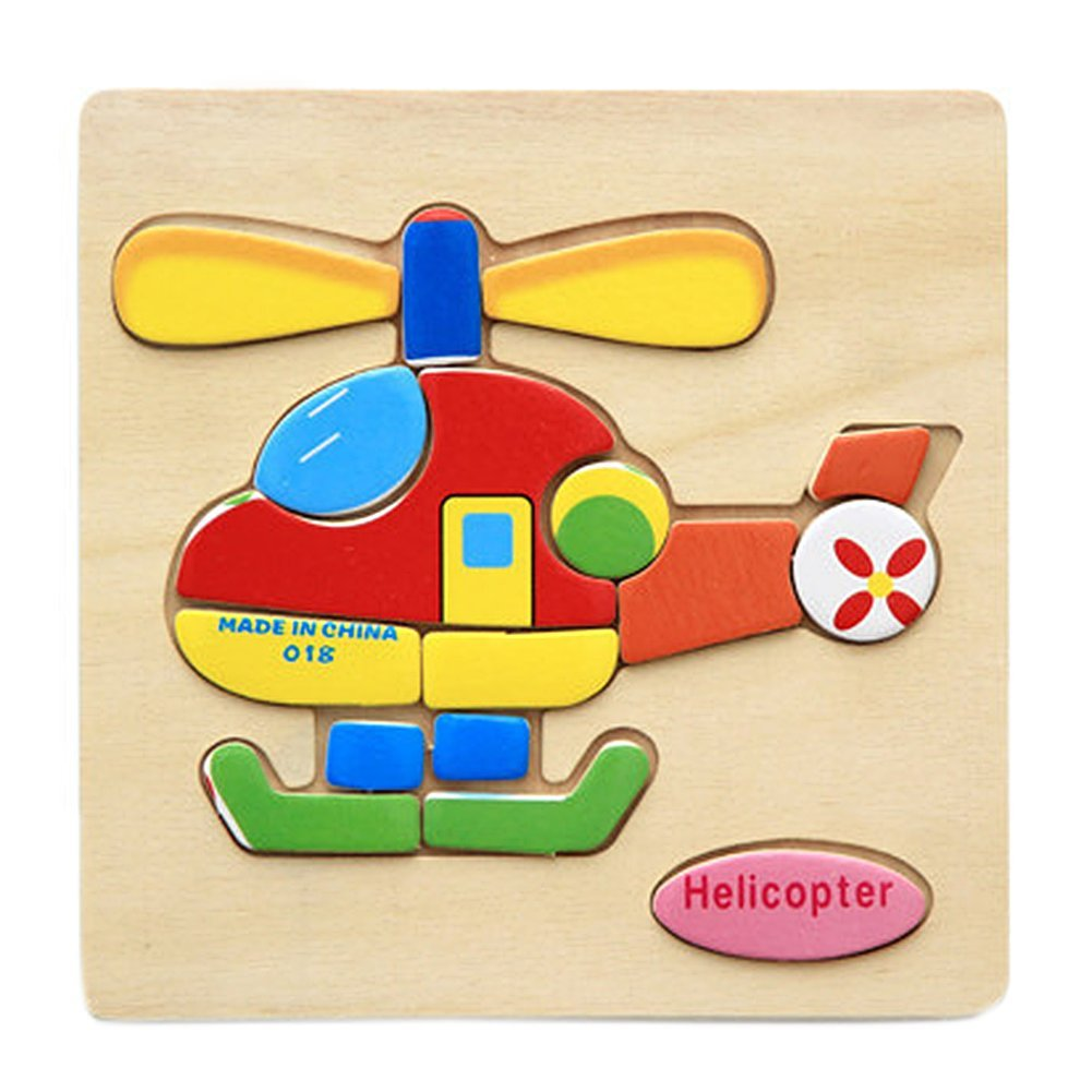Remeehi Wooden Vehicles Jigsaw Puzzles Helicopter
