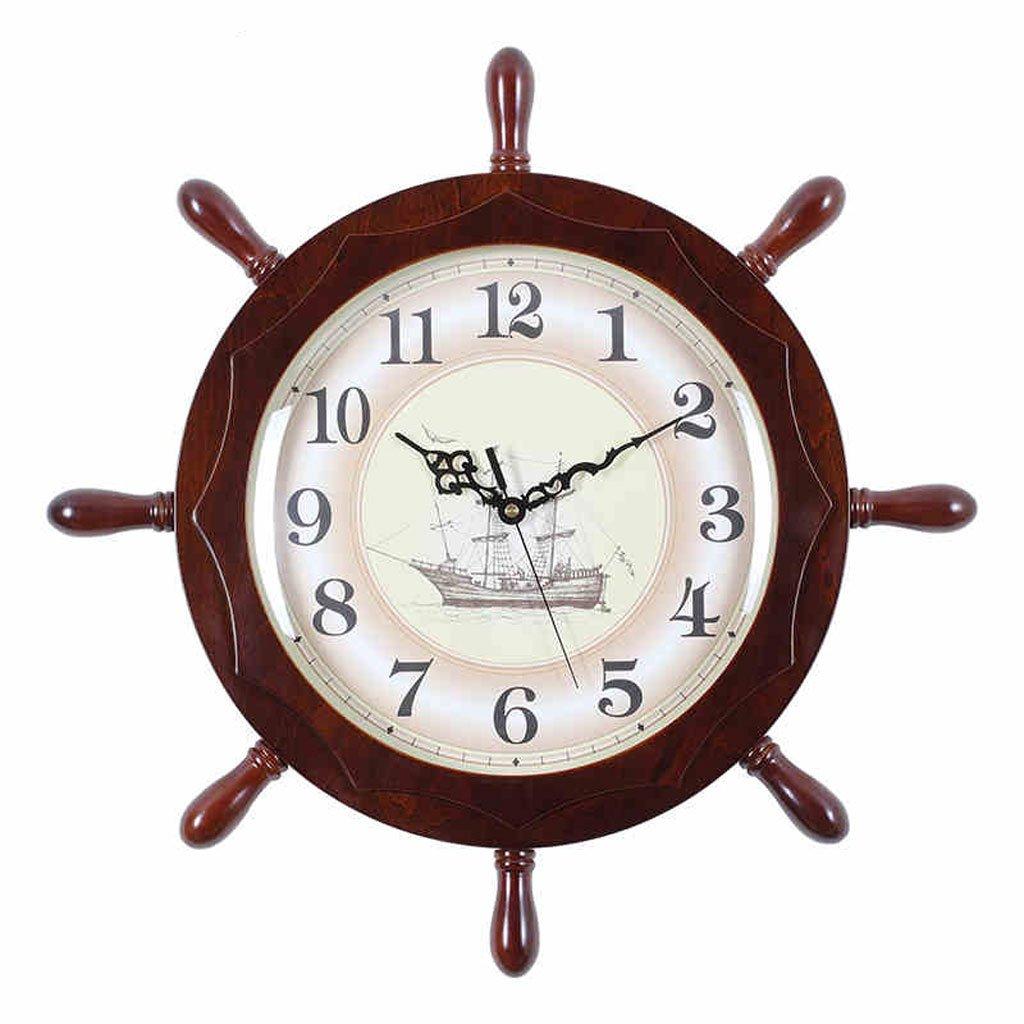 地中海スタイルクリエイティブデザインリビングルームベッドルームラダーウォールクロック装飾エレガントな時計シンプルなパーソナリティスタイリッシュなレストランクロック木製壁掛けテーブル B07CZ1X8Y7