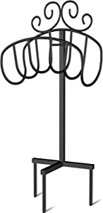 Amagabeli Garden Hose Holder Holds 125ft Hose Detachable Rustproof Hose Hanger Heavy Duty Metal Decorative Water Hose Storage Stand with Ground Stakes Free Standing for Garden Lawn Yard Outside Black