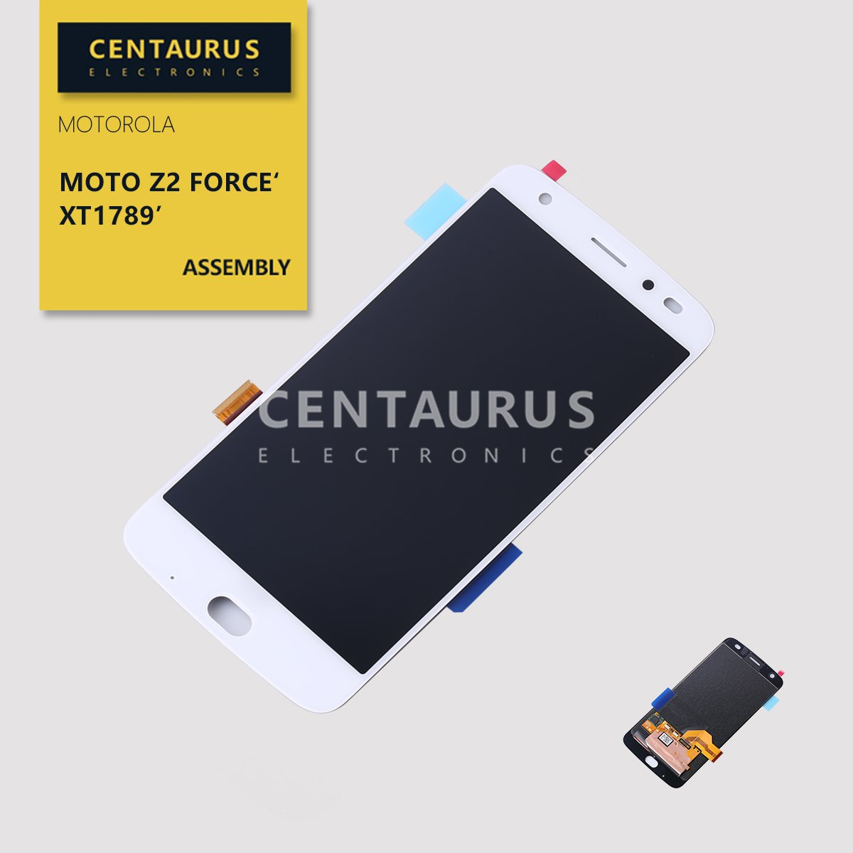 Assembly for Motorola Moto Z2 Force XT1789-01 XT1789-02 XT1789-03 XT1789-04 XT1789-05 XT1789-06 5.5 inch LCD Display Touch Screen Digitizer Panel Complete Full Replacement (White)
