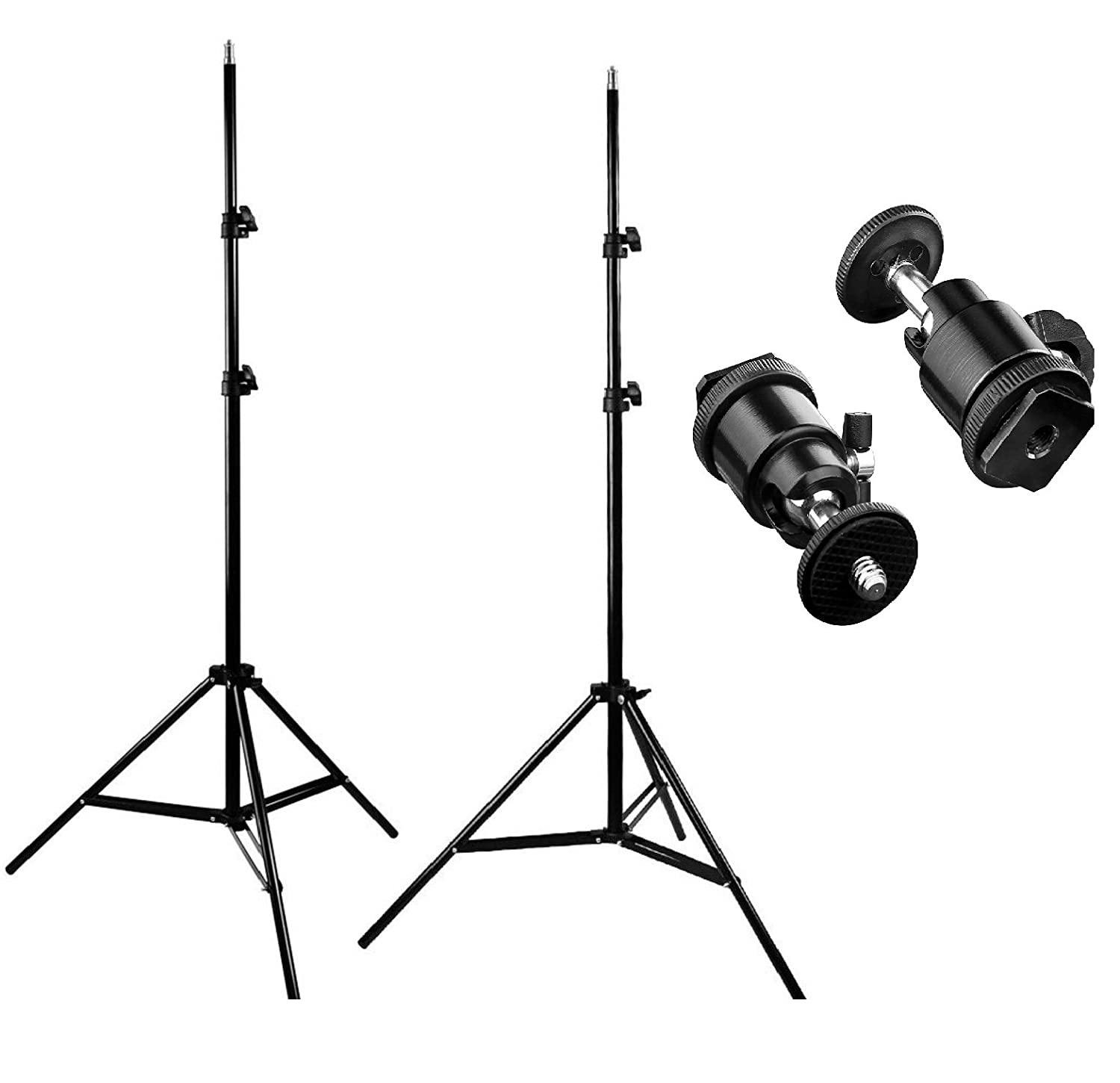 2 Packs 7ft Adjustable Light Stands 2 Packs 1/4-inch Screw Tripod Mini Ball Head Hot Shoe Adapters HTC Vive VR, Video Product Photography CanadianStudio