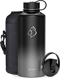 BUZIO Insulted Water Bottle with Straw Lid and Flex Cap, 87oz Modern Double Vacuum Stainless Steel Water Flask, Cold for 48 Hrs Hot for 24 Hrs Simple Thermo Canteen Mug,Black and Gray