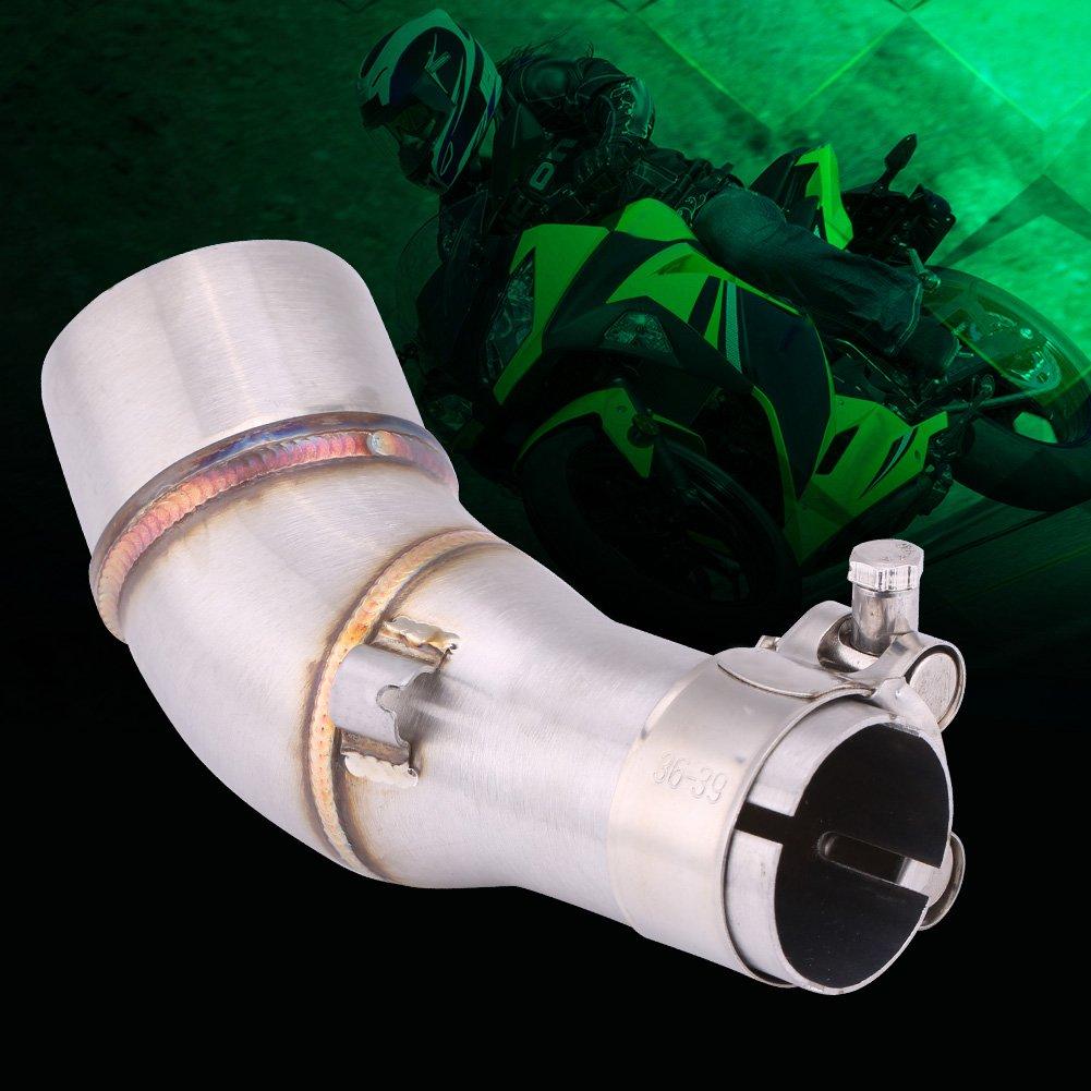 deslizamiento de la motocicleta en el conector del adaptador del tubo intermedio del tubo de escape para R25 R3 2013-2016 Tubo intermedio del tubo intermedio de la motocicleta del tubo de escape