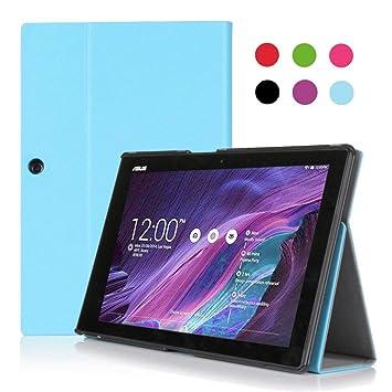 FYY Funda de Piel para Lenovo Yoga Tablet 2 (10 Pulgadas), función Atril, Tarjetero, Correa de Mano, función de Apagado y Encendido automático - Cyan ...