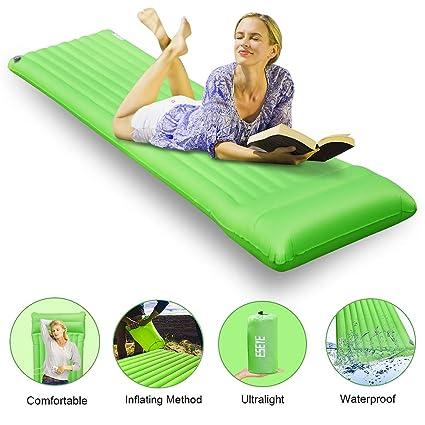 ESEYE Esterillas Acampada Hinchable con Almohada, Portátil Ultraligera Impermeable Colchonetas de Camping Durable Cómodo Dormir
