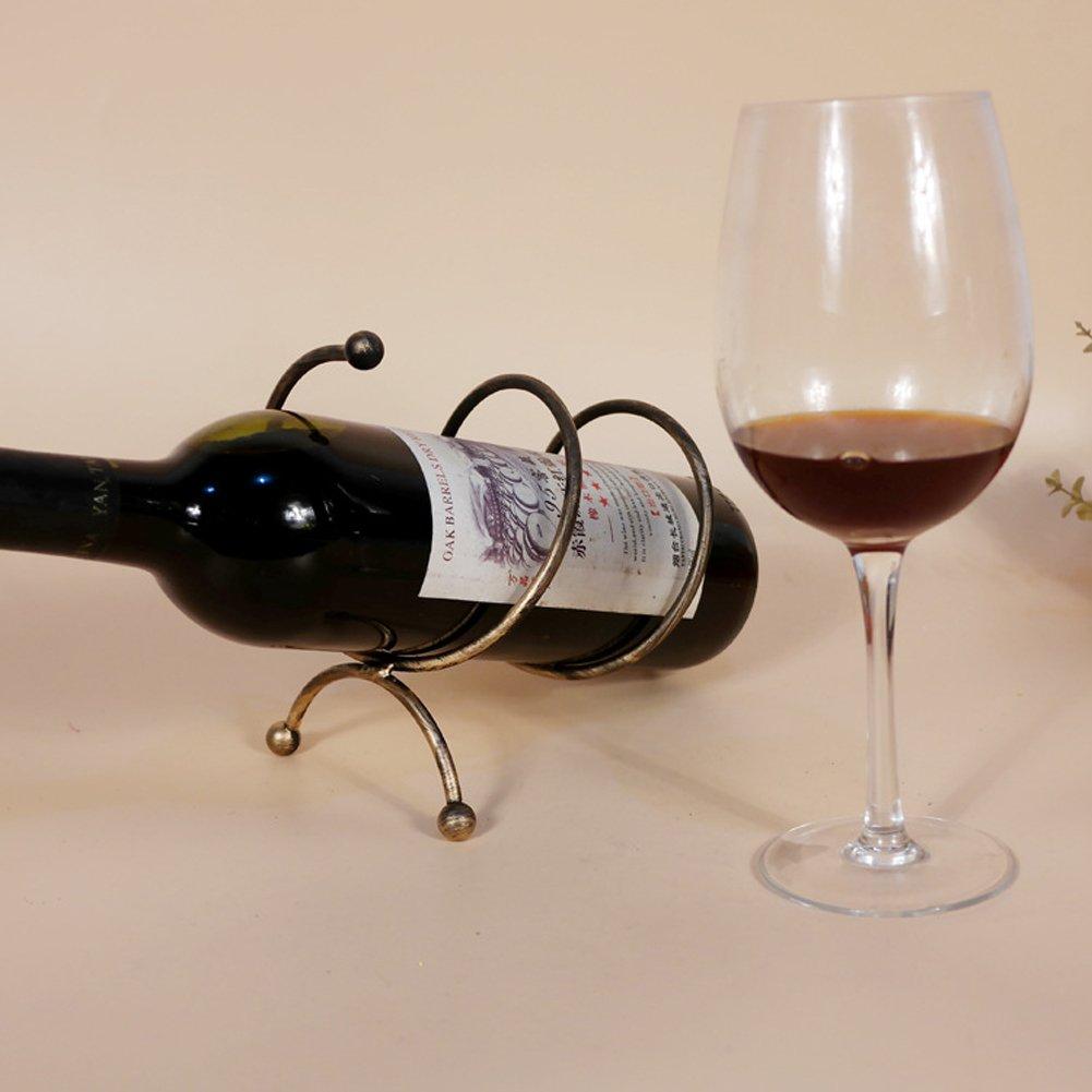 ChezMax Creative Metal Single Bottle Wine Rack Tabletop Wine Holder Rack Bronze