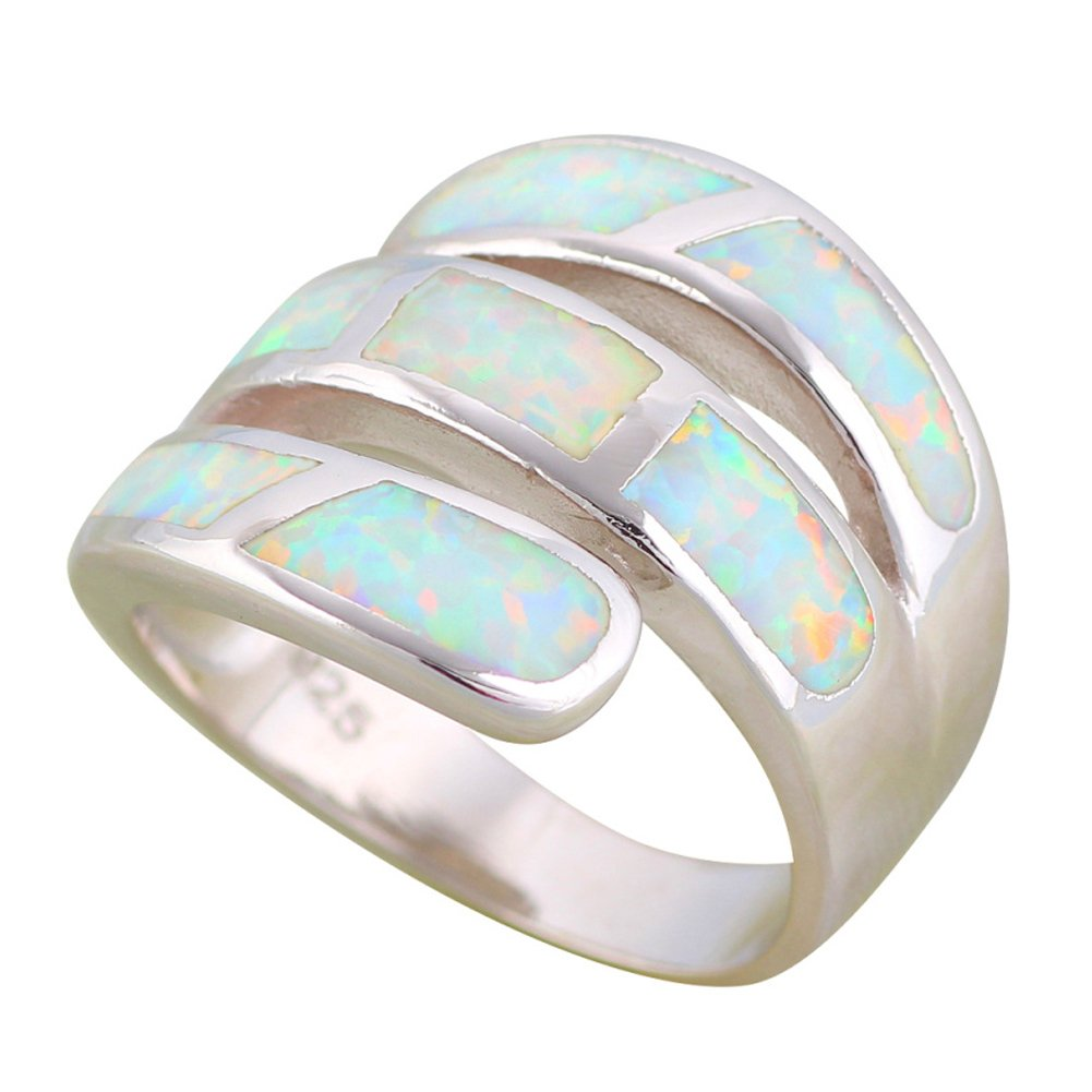T-Ring Wonderful Design White Fire Opal Rings for Women Wedding Ring Engagement Bridal Rings