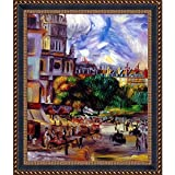 overstockArt Church Of The Holy Trinity In Paris By Renoir Framed Hand Painted Oil On Canvas with Verona Black & Gold Frame