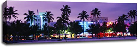 Amazon Com South Beach Miami Beach Photography 48x16 Gallery Wrapped Canvas Wall Art Posters Prints