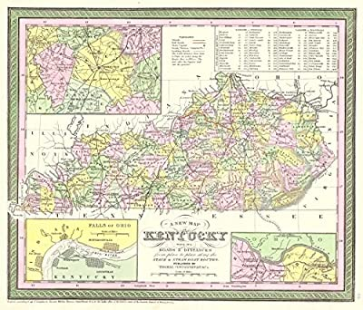 Historic Map | 1850 A New Map of Kentucky with Its Roads and Distances from Place to Place Along the Stage and Steamboat Routes | Thomas, Cowperthwait, and Company