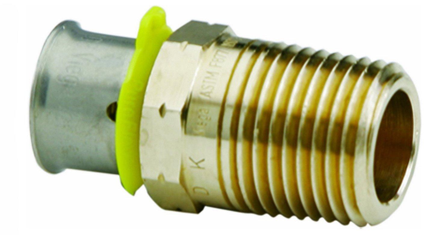 VIEGA 80506 Pureflow Bronze Pex Press Adapter with Male 3/8'' x 1/2'' Press x Male NPT (3-Pack)