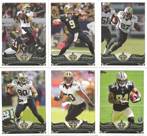 New Orleans Saints 2013 Topps Complete Regular Issue 14 Card Team Set with Drew Brees, Jimmy Graham, Kenny Vaccaro Plus