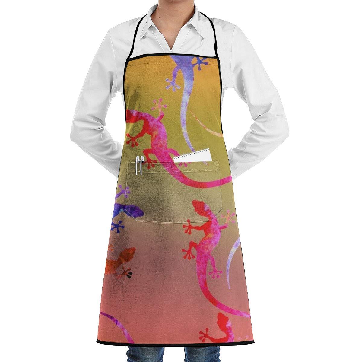 QIAOJIE - Delantal de Cocina con diseño de Lagarto de Tinta ...