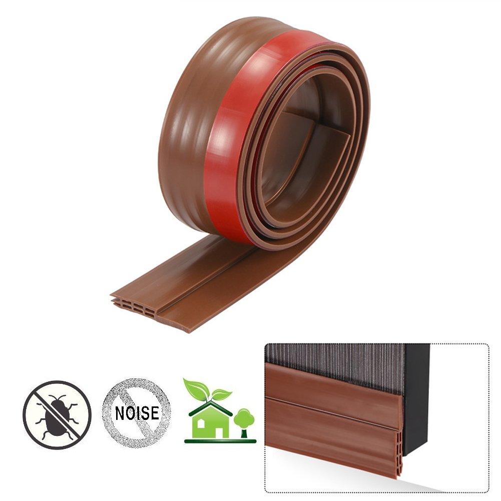 Alotm 1M Under Door Draft Stopper Door Sweep Weather Stripping Door Bottom Seal Strip with Self Adhesive for Noise Insulation, 2'' Width x 39'' Length (Brown)