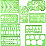 Hestya 9 Pieces Drawings Templates Measuring Geometric Rulers Plastic Draft Rulers for School Office Supplies, Clear Green