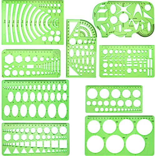 - 9 Pieces Drawings Templates Measuring Geometric Rulers Plastic Draft Rulers for School Office Supplies, Clear Green