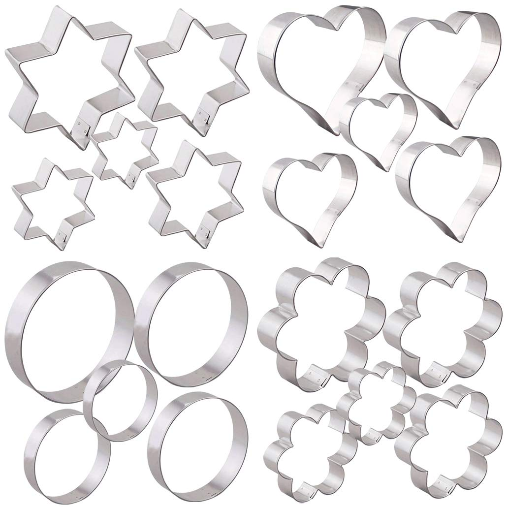Cookie Cutters Stainless Steel (Star Heart Flower Round Shapes) Set of 20 by KAISHANE