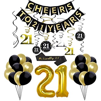 21st Birthday Party Decorations Kit Anniversary Supplies Cheers To 21 Banner Foil Hanging Swirls Number 21 Foil Balloons Party Favors