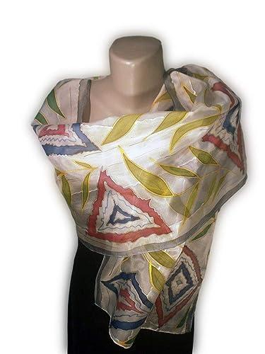 UNIVERS Foulard peint à la main, 100% soie naturelle, écharpe peinte à la f80d8bee373