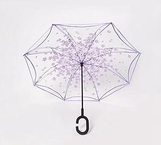 TysLDss Trasparente, ombrello Ombrello di retromarcia, double deck, lunga ombrello, uomini e donne, la pioggia e la pioggia, ombrello,stile C ombrello,stile C